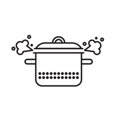Saucepan with a steam clowd vector