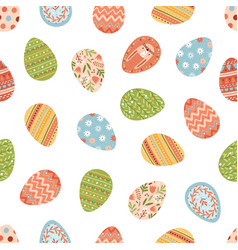 seamless pattern with various painted easter eggs vector image
