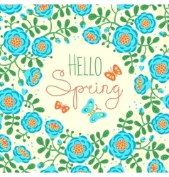 Season card Hello Spring with cute flowers and vector