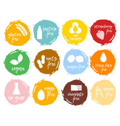 Set food labels allergens food intolerance symbol vector