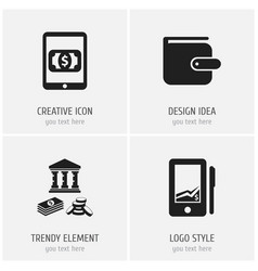 set of 4 editable finance icons includes symbols vector image
