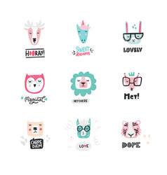 Set of cute animal icons vector