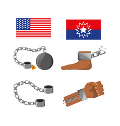 Set of flags chains foot and hand to celebrate vector