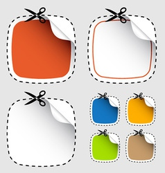 Set of scissors cutting stickers vector