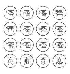 set round line icons helicopter vector image