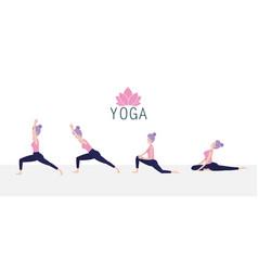 Set woman practice yoga spiritual posture vector