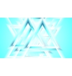 Shiny cyan blue smooth triangles tech background vector