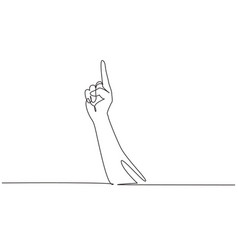 Single continuous line drawing symbol victory vector