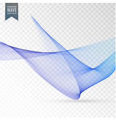 Smooth blue wave transparent background vector