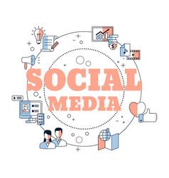 social media connection concept social media vector image
