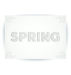 Spring embossed inscription vector
