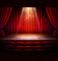Stage red curtains spotlight seats background vector