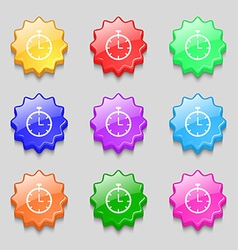 Stopwatch icon sign symbol on nine wavy colourful vector image