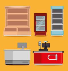 Supermarket shelvings with register machine vector