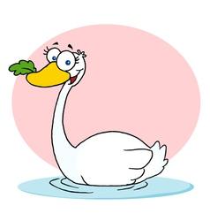 Swan With Leaf In Beak vector image