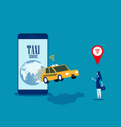 taxi service businesswoman call taxi with mobile vector image