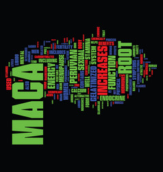 The magical benefits of peruvian maca text vector