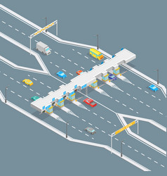 Toll road payment concept 3d isometric view vector