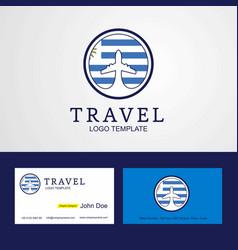 Travel uruguay creative circle flag logo and vector