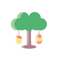 Tree with easter eggs colorful and flat style vector
