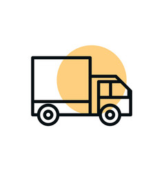 truck delivery transport shopping line style dot vector image