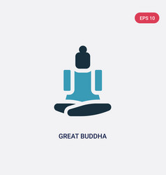 Two color great buddha icon from religion concept vector