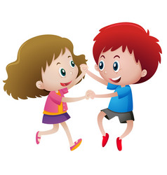 two kids holding hands vector image