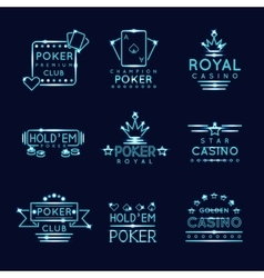 Vintage neon hipster poker club and casino signs vector image