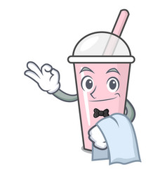 Waiter raspberry bubble tea character cartoon vector