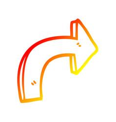 Warm gradient line drawing cartoon directing arrow vector