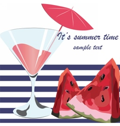 Watermelon and Cocktail Juice Glass vector image vector image