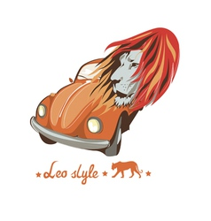 Wild lion retro car driver vector
