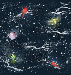 Winter birds on branches in snowy weather winter vector