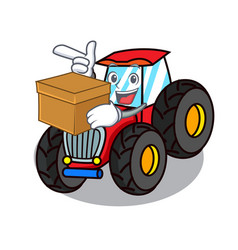 With box tractor character cartoon style vector