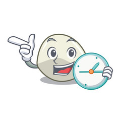 With clock character cartoon fresh mozzarella vector