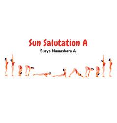 Woman practicing sun salutation vector