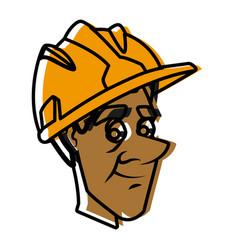 Worker face with helmet cartoon vector