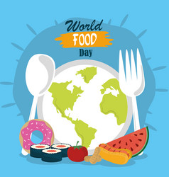 world food day planet shaped dish spoon fork vector image