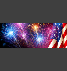 american flag with fireworks vector image