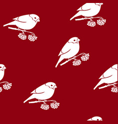 seamless pattern with a bullfinch vector image vector image