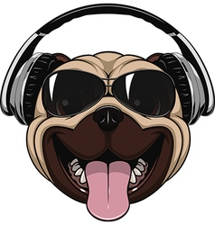 Funny laughing pug vector image