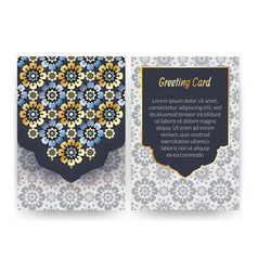 greeting card with islamic pattern vector image