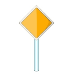 Priority road sign icon cartoon style vector image