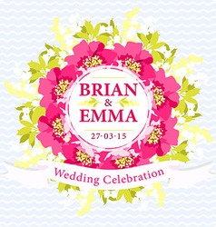 Wedding card with Beautiful Pink Flowers vector image
