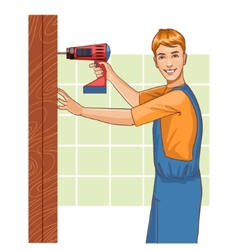 Working man with drill at home eps10 vector image vector image