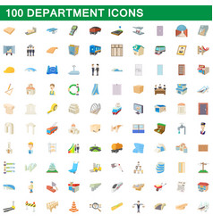 100 department icons set cartoon style vector image vector image