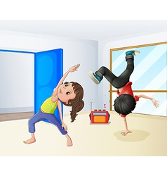 A girl and a boy dancing vector image