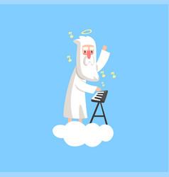 Almighty bearded god character on vector