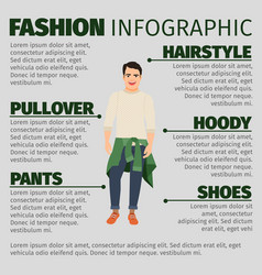fashion infographic with young guy vector image vector image