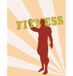 Muscular man holding fitness word vector image vector image
